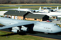 Aerial view of US Air force Aircraft Lockheed C5 galaxy at the New Castle County Airport