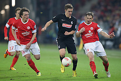 26.02.2013, Coface Arena, Mainz, GER, 1. FBL, 1. FSV Mainz 05 vs SC Freiburg, DFB Cup, Viertelfinale, im Bild Julian BAUMGARTLINGER (FSV Mainz 05 - 14) Max KRUSE (SC Freiburg - 20) - Zdenek POSPECH (FSV Mainz 05 - 3) // during the German Bundesliga DFB Cup quarterfinals match between 1. FSV Mainz 05 and SC Freiburg at the Coface Arena, Mainz, Germany on 2013/02/26. EXPA Pictures © 2013, PhotoCredit: EXPA/ Eibner/ Gerry Schmit..***** ATTENTION - OUT OF GER *****