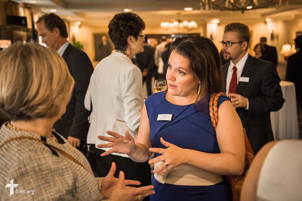 Mollie Ziegler Hemingway, senior editor at The Federalist, talks to Deaconess Pamela Nielsen, associate executive director in LCMS Communications, during the Let's Talk Life, Marriage and Religious Liberty event on Tuesday, September 8, 2015, a the Capitol Hill Club in Washington, D.C. LCMS Communications/Erik M. Lunsford