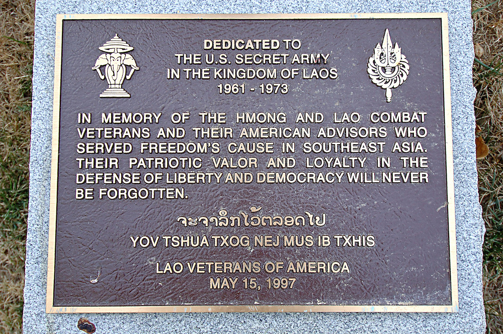 A plaque dedicated to Laos combat veterans from the CIA secret war, Arlington Cemetary, Virginia, USA,  August 17, 2006.  Approximately 20,000 to 30,000 Hmong were killed serving in the CIA secret army, some estimates put the figure much higher.  Approximately 200,000 Hmong Americans live now in the USA, many are refugees from the war.....  ..