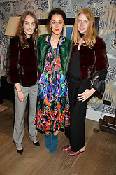 Left to right, LADY VIOLET MANNERS, ROSANNA FALCONER and LUCY WARD md of Trouva at the Mila Furs Trunk Show held at the Haymarket Hotel, 1 Suffolk Place, London on 1st November 2016.