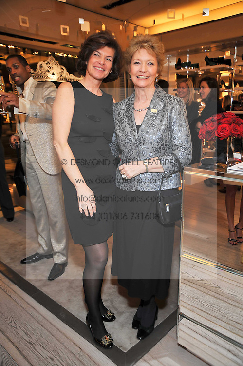 Left to right, SOPHIA CHARBONNEAU and HANNAH TILLER at a party to celebrate the arrival of the 'A Princess to be a Queen' collection at the Roger Vivier boutique on Sloane Street, London on 20th October 2009.