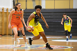 Beata Janoscikova of MBK Ruzomberok and Rangie Bessard of ZKK Cinkarna Celje in action during basketball match between ZKK Cinkarna Celje (SLO) and MBK Ruzomberok (SVK) in Round #6 of Women EuroCup 2018/19, on December 13, 2018 in Gimnazija Celje Center, Celje, Slovenia. Photo by Urban Urbanc / Sportida