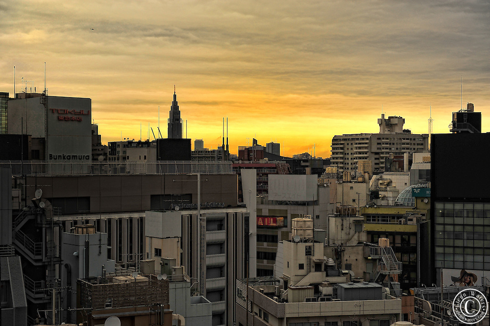 Tokyo city sunset as seen from Shibuya.
