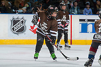 KELOWNA, CANADA - JANUARY 7: Mini minor hockey players scrimmage during intermission at the Kelowna Rockets against the Kamloops Blazers on January 7, 2017 at Prospera Place in Kelowna, British Columbia, Canada.  (Photo by Marissa Baecker/Shoot the Breeze)  *** Local Caption ***