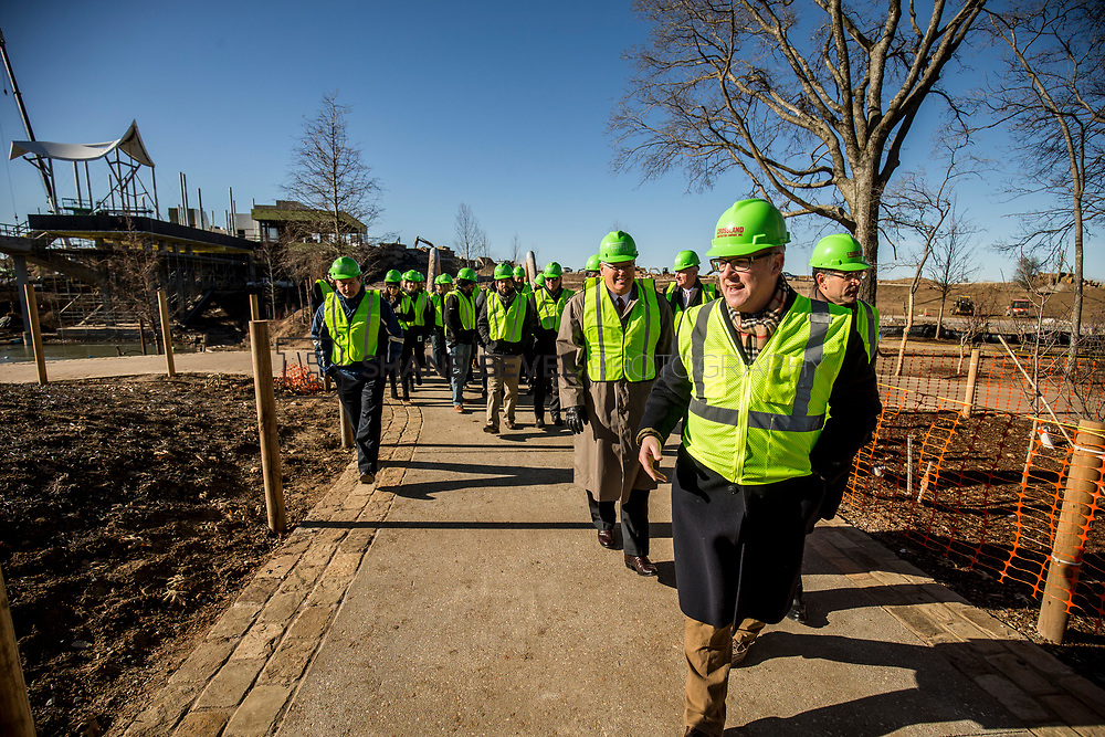 1/12/18 11:16:40 AM -- Halliburton CEO Jeff Miller and George Kaiser visit the Gathering Place for a press conference announcing Halliburton's support for the park. <br /> <br /> Photo by Shane Bevel