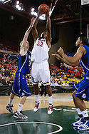 November 26th, 2010:  Anchorage, Alaska - St. John's senior forward Justin Brownlee (32) elevates for a dunk in the Red Storm's semi final game of the Great Alaska Shootout against the Drake Bulldogs.  The Red Storm defense held Drake to a tournament low score as St. Johns advanced to the final game 82-39.
