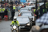 United States President Barak Obama's motorcade enters Downing Street, London, to be welcomed by British Prime Minister David Cameron.<br /> Picture by Paul Davey/Focus Images Ltd +447966 016296<br /> 22/04/2016