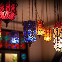 Traditional hand crafted ceiling lamps, made of painted glass.