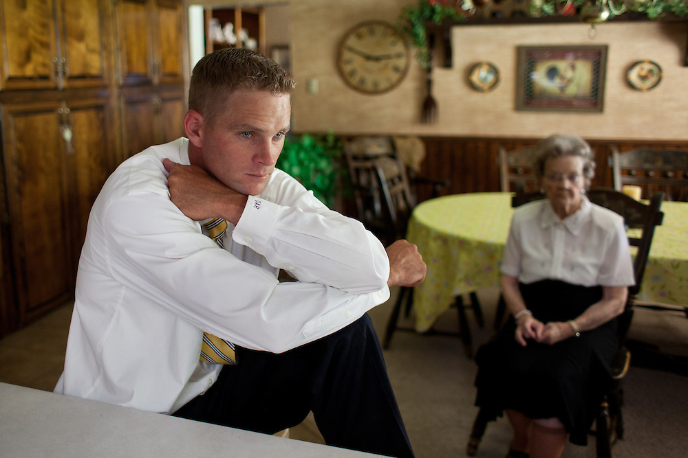 From left, Derrick Romney, 32, sits with his grandmother Nellie Romney, 95, as they wait for dinner in Colonia Juarez, Mexico in July 2011. United States Presidential candidate Mitt Romney's family migrated to Mexico over 100 years ago after being granted asylum from Mexican President Porfirio Diaz after they had been pursued by the U.S. authorities for polygamy. ..(Romney is currently running for the Republican nomination.)