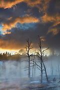 Steam rises from Angel Terrace, which is lightly dusted in autumn snow, at sunset in Yellowstone National Park, Wyoming. Angel Terrace is part of the Mammoth Upper Terraces, located at the north end of Yellowstone.