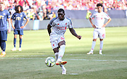 Liverpool Sheyi Ojo shoots and scores a goal from the penalty spot 1-3 during the Manchester United and Liverpool International Champions Cup match at the Michigan Stadium, Ann Arbor, United States on 28 July 2018.