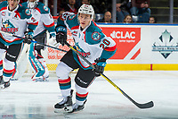 KELOWNA, CANADA - MARCH 3:  Conner Bruggen-Cate #20 of the Kelowna Rockets skates against the Spokane Chiefs on March 3, 2018 at Prospera Place in Kelowna, British Columbia, Canada.  (Photo by Marissa Baecker/Shoot the Breeze)  *** Local Caption ***