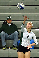 28 October 2016:  Maisy Bowden during an NCAA womens division 3 Volleyball match between the DePauw Tigers and the Illinois Wesleyan Titans in Shirk Center, Bloomington IL