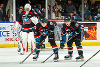 KELOWNA, CANADA - DECEMBER 1:  James Porter #1, Libor Zabransky #7 and Leif Mattson #28 of the Kelowna Rockets line up against the Saskatoon Blades on December 1, 2018 at Prospera Place in Kelowna, British Columbia, Canada.  (Photo by Marissa Baecker/Shoot the Breeze)