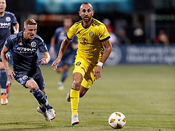 September 1, 2018 - Columbus, OH, U.S. - COLUMBUS, OH - SEPTEMBER 01: Justin Meram (9) of Columbus Crew SC looks for an open man in the MLS regular season game between the Columbus Crew SC and the New York City FC on September 01, 2018 at Mapfre Stadium in Columbus, OH. (Photo by Adam Lacy/Icon Sportswire) (Credit Image: © Adam Lacy/Icon SMI via ZUMA Press)