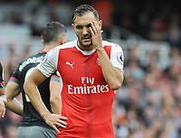 Football - 2016 / 2017 Premier League - Arsenal vs Southampton <br /> <br /> Lucas Perez of Arsenal struggled in the first half and was later substituted at the Emirates Stadium.<br /> <br /> <br /> Credit : Colorsport / Andrew Cowie