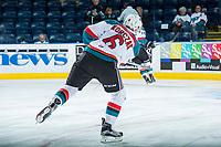KELOWNA, CANADA - APRIL 14: Kaeden Korczak #6 of the Kelowna Rockets warms up with a shot on net against the Portland Winterhawks on April 14, 2017 at Prospera Place in Kelowna, British Columbia, Canada.  (Photo by Marissa Baecker/Shoot the Breeze)  *** Local Caption ***