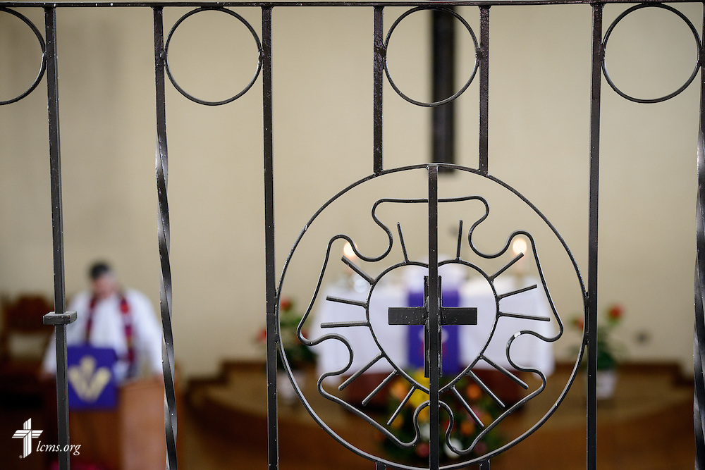 The altar is framed in the background by a decorative Luther Seal in the balcony of the Lutheran Church of San Pedro on Sunday, Feb. 14, 2016, in Mexico City, Mexico. LCMS Communications/Erik M. Lunsford