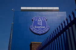 LIVERPOOL, ENGLAND - Sunday, April 9, 2017: Everton's club crest on the outside of the Goodison Park main stand, pictured before the FA Premier League match against Leicester City. (Pic by David Rawcliffe/Propaganda)