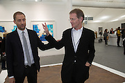 STUART COMER; SIR NICHOLAS SEROTA, The VIP preview of Frieze. Regent's Park. London. 16 October 2013