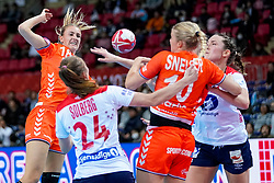 06-12-2019 JAP: Norway - Netherlands, Kumamoto<br /> Last match groep A at 24th IHF Women's Handball World Championship. / The Dutch handball players won in an exciting game of fear gegner Norway and wrote in the last group match at the World Handball  World Championship history (30-28). / Kelly Dulfer #18 of Netherlands, Kari Skaar Brattset #13 of Norway, Danick Snelder #10 of Netherlands