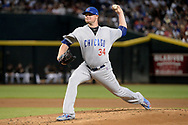 Aug 12, 2017; Phoenix, AZ, USA; Chicago Cubs starting pitcher Jon Lester (34) delivers a pitch in the first inning of the game against the Arizona Diamondbacks at Chase Field. Mandatory Credit: Jennifer Stewart-USA TODAY Sports