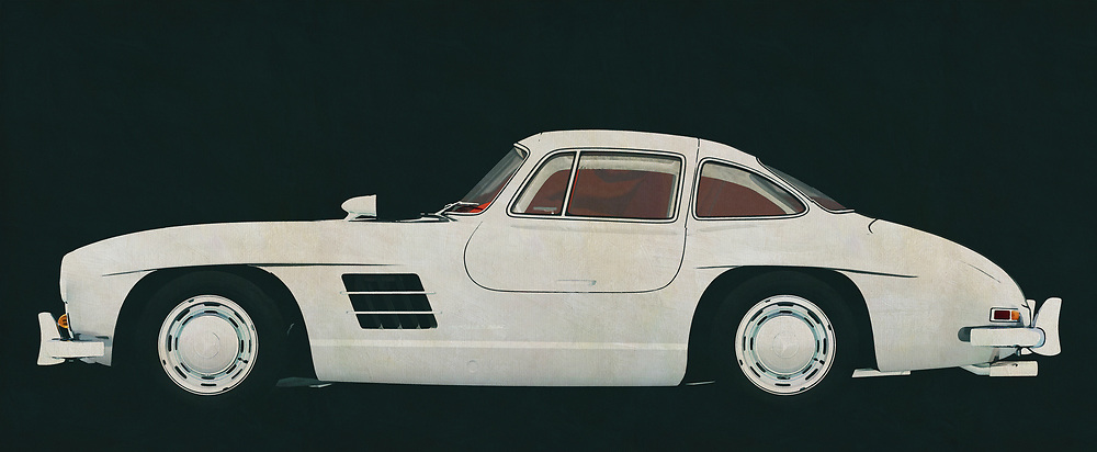 The Mercedes 300 SL Gullwings is the most coveted Mercedes among car collectors and therefore the most expensive. If you can see this Mercedes 300 SL Gullwings for once in real life you will do everything to sit in it, let alone drive it. On this painting I pictured it in a closed version. Usually you see the Mercedes 300 SL Gullwings with its doors open but just like this Mercedes I am averse to the influence of others. <br />