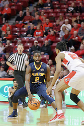 09 December 2017:  Madison Williams defends Jonathan Stark at the arc during a College mens basketball game between the Murray State Racers and Illinois State Redbirds in  Redbird Arena, Normal IL