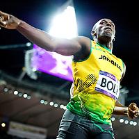 Engeland, Londen, 05-08-2012.<br /> Olympische Spelen.<br /> Atletiek, Mannen, Finale, 100 meter.<br /> Usain Bolt wint.<br /> Foto : Klaas Jan van der Weij
