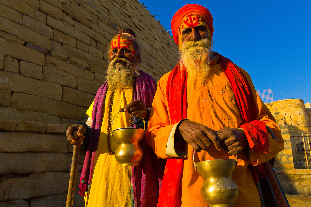 Saddhus (holy men) at the Jaisalmer Fort, Jaisalmer, Rajasthan, India