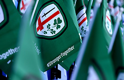 London Irish flags are left on seats for fans ahead of the Greene King IPA Championship Final 2nd Leg - Mandatory by-line: Robbie Stephenson/JMP - 24/05/2017 - RUGBY - Madejski Stadium - Reading, England - London Irish v Yorkshire Carnegie - Greene King IPA Championship Final 2nd Leg