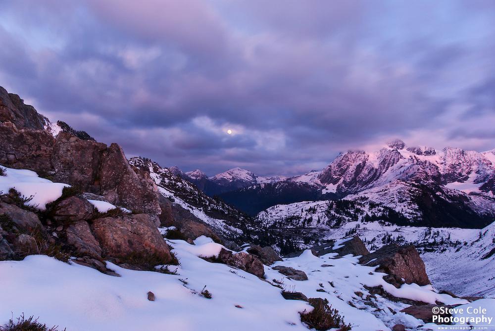 Moonrise over Ruth Mountain - Mount Baker Wilderness