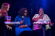 "Progress Center for Black Women founder Sabrina Madison speaks during the live taping of the ""Madsplainers"" Podcast at High Noon Saloon in Madison, WI on Tuesday, April 9, 2019."