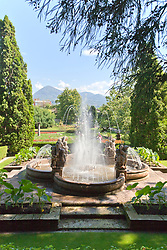 This charming fountain is one of the first features one sees when exploring the Villa Taranto Botanical Gardens (Giardini Botanici Villa Taranto) in the town of Pallanza on the western shore of Lake Maggiore. The gardens were established 1931-1940 by Scotsman Neil Boyd McEacharn who bought an existing villa and its neighboring estates, cut down more than 2000 trees, and undertook substantial changes to the landscape, including the addition of major water features employing 8 km of pipes. Today the gardens contain nearly 20,000 plant varieties representing more than 3,000 species, set among 7 km of paths. Among its collections are azalea, cornus, greenhouses of Victoria amazonica, and 300 types of dahlias.mausoleum.