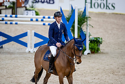 FREDRICSON Peder (SWE), H&M All In<br /> Göteborg - Gothenburg Horse Show 2019 <br /> Longines FEI Jumping World Cup™ Final<br /> Training Session<br /> Warm Up Springen / Showjumping<br /> Longines FEI Jumping World Cup™ Final and FEI Dressage World Cup™ Final<br /> 03. April 2019<br /> © www.sportfotos-lafrentz.de/Stefan Lafrentz