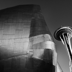Seattle's space needle leaning over the Science Fiction Museum in downtown Seattle, Washington.