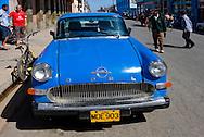 Blue Opel in Cardenas, Matanzas, Cuba.