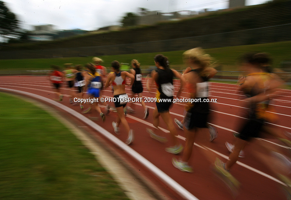 Competitors in the women's 3000m walk.<br /> National athletics championships at Newtown Park, Wellington. Friday, 27 March 2009. Photo: Dave Lintott/PHOTOSPORT