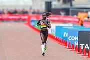Vivian Cheruiyot (Kenya), runner-up, Women's Elite race, during the Virgin Money 2019 London Marathon, London, United Kingdom on 28 April 2019.