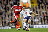 Photo: Marc Atkins.<br /> Tottenham Hotspur v Middlesbrough. The Barclays Premiership. 05/12/2006. Steed Malbranque (R) of Spurs in action with George Boateng of Boro.