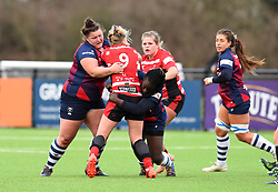 Ellie Mulhearn and Simi Pam of Bristol Bears Women tackle Mo Hunt of Gloucester-Hartpury Women - Mandatory by-line: Paul Knight 12/2019 - RUGBY - Shaftesbury Park - Bristol, England - Bristol Bears Women v Gloucester-Hartpury Women - Tyrrells Premier 15s