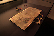 A manuscript written by Joahnn Von Staupitz of Martin Luther's thoughts<br /> in the home of Martin Luther<br /> Photo by Dennis Brack