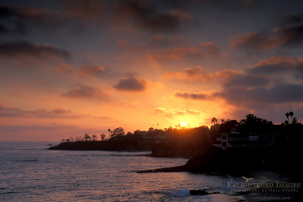 Sunset through summer fog along the coast at Laguna Beach Southern California