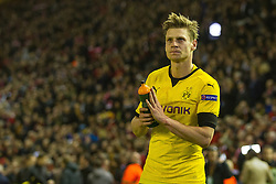 14.04.2016, Anfield Road, Liverpool, ENG, UEFA EL, FC Liverpool vs Borussia Dortmund, Viertelfinale, Rueckspiel, im Bild Lukasz Piszczek (Borussia Dortmund #26) nach dem Abpfiff // during the UEFA Europa League Quaterfinal, 2nd Leg match between FC Liverpool vs Borussia Dortmund at the Anfield Road in Liverpool, Great Britain on 2016/04/14. EXPA Pictures &copy; 2016, PhotoCredit: EXPA/ Eibner-Pressefoto/ Schueler<br /> <br /> *****ATTENTION - OUT of GER*****