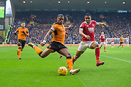 Ivan Cavaleiro of Wolverhampton Wanderers prepares to cross during the EFL Sky Bet Championship match between Wolverhampton Wanderers and Nottingham Forest at Molineux, Wolverhampton, England on 20 January 2018. Photo by Darren Musgrove.