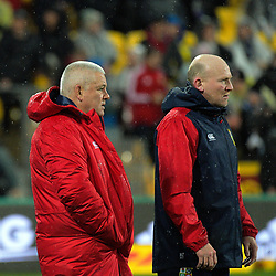 Lions coaches Warren Gatland and Neil Jenkins (right) during the 2017 DHL Lions Series 2nd test rugby match between the NZ All Blacks and British & Irish Lions at Westpac Stadium in Wellington, New Zealand on Saturday, 1 July 2017. Photo: Dave Lintott / lintottphoto.co.nz