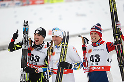 25.02.2015, Lugnet Ski Stadium, Falun, SWE, FIS Weltmeisterschaften Ski Nordisch, Falun 2015, Langlauf, Herren, 15km, im Bild MAURICE MANIFICAT, JOHAN OLSSON, ANDERS GLOEERSEN // during the Mens 15km Cross Country Race of the FIS Nordic Ski World Championships 2015 at the Lugnet Ski Stadium in Falun, Sweden on 2015/02/25. EXPA Pictures © 2015, PhotoCredit: EXPA/ Newspix/ Radoslaw Jozwiak<br /> <br /> *****ATTENTION - for AUT, SLO, CRO, SRB, BIH, MAZ, TUR, SUI, SWE only*****