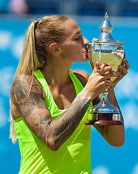 LIVERPOOL, ENGLAND - Sunday, June 18, 2017: Ladies' Champion Polona Hercog (SLO) kisses the trophy after beating Corinna Dentoni (ITA) 6-2, 6-4 during Day Four of the Liverpool Hope University International Tennis Tournament 2017 at the Liverpool Cricket Club. (Pic by David Rawcliffe/Propaganda)
