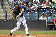 March 18, 2018 - Tampa, FL, U.S. - TAMPA, FL - MAR 18: Giancarlo Stanton (27) of the Yankees at bat during the game between the Miami Marlins and the New York Yankees on March 18, 2018, at George M. Steinbrenner Field in Tampa, FL. (Photo by Cliff Welch/Icon Sportswire) (Credit Image: © Cliff Welch/Icon SMI via ZUMA Press)